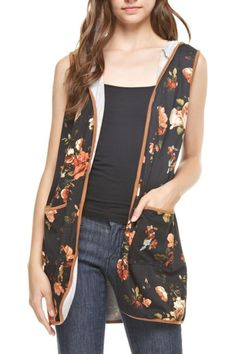 Thin hooded sleeveless floral vest with pockets. Fits loose as intended.  Floral Hoodie Vest by Reborn J. Clothing - Jackets Coats & Blazers - Vests Tennessee