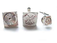 Vintage Silver Cuff Link and Tie Tack Pin Set by BreatheCouture, $18.00