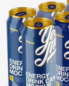 Transparent Pack with 6 Glossy Cans Mockup – Halfside View Close-up
