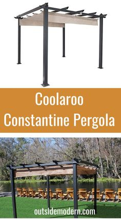 The Coolaroo Constantine line of Aluminum Pergola Kits is an excellent modern metal pergola line. These pergolas span 9′ x 9′ in area, and come with a retractable canvas cover. The cover is available in three color options (shown here in Smoke). This aluminum pergola kit, painted in a lovely in a mocha brown tone, is a great choice for those looking for a modern shade structure that is both powerful and graceful. Aluminum Pergola, Steel Pergola, Outdoor Shade, Shade Structure, Pergola Kits, Mocha Brown, Shades, Outdoor Structures, Modern