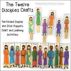 The Twelve Disciples Bible Stick Puppets and Fan-folded Display Craft for Sunday School