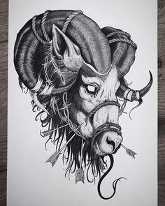 Fist Tattoo, Ram Tattoo, Capricorn Tattoo, Head Tattoos, Dog Tattoos, Tattoos For Guys, Mini Tattoos, Tattoo Sketches, Tattoo Drawings
