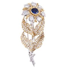 BUCCELLATI Sapphire & DIamond Flower Pin | From a unique collection of vintage brooches at http://www.1stdibs.com/jewelry/brooches/brooches/