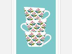 Retro Tea Cups Print