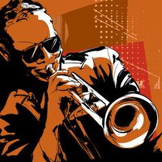 Illustration of Jazz trumpet player vector art, clipart and stock vectors. Jazz Trumpet, Trumpet Players, Jazz Festival, Festival 2017, Black Families, African American Art, Banner Printing, Image Photography, Royalty Free Images