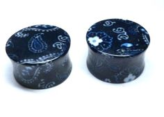 Ear Stretching, Flesh Tunnel, Tunnels And Plugs, Stretched Ears, Bandana Print, Stretches, Navy Blue, Pairs, Amazon
