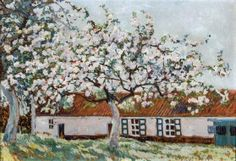 'Blossoming trees in front of the farm' - by Anna de Weert