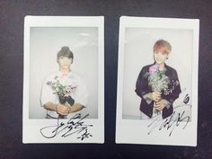 BTS 150429 Jungkook and Suga signed polaroids | cr: Naver Starcast