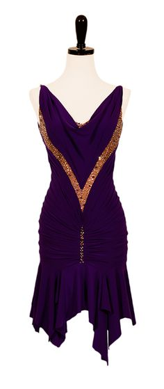 Love the eggplant purple & copper together. No Shrinking Violet | Rhythm & Latin Dresses | Encore Ballroom Couture