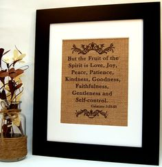 Galatians 5:22-23 - Fruit of the Spirit on Burlap Print by BusyBeeBurlap