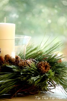 Pine Bough candle holder