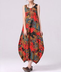 Flamboyant Floral Print Long Linen Dress Baggy Sundress Plus Size Casual Dress Large Blouse Long Dress