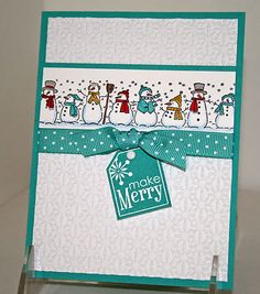 snowman card - great use of roller
