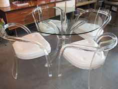 Vintage Lucite Furniture | Lucite & Glass Table & Four Lucite Chairs
