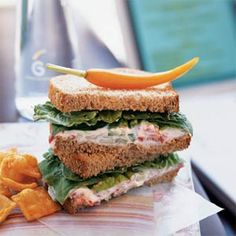 Roasted Red Pepper Spread Sandwiches - Roasted Red Pepper, Cucumber, Low-fat Cream Cheese, Garlic & Onion. Works best with hearty whole grain bread, and well chilled. Romaine lettuce gives it a nice crunch.
