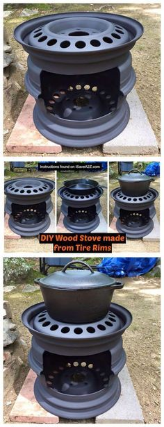 Check out this DIY Wood Stove made from tire rims! How cool is that to make something from recycled projects. Be sure to read all the tips we included.