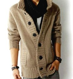Men's knit cardigan sweater thick sweater coat Korean Slim line casual jacket #Cardigan