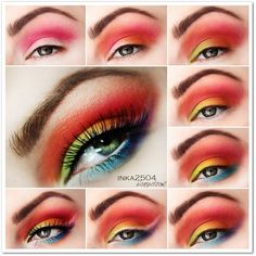 This gorgeous eye makeup uses eye shadows in red, light green, yellow, and blue. White eye shadow is used as a winged liner and lush lashes complete the look. Learn how to recreate this look here.
