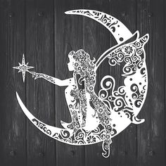 Fairy And Moon Mandala - Trend Design Home App 2019 3d Cuts, Moon Mandala, Silhouette Machine, Silhouette Studio, Moon Silhouette, Cricut Explore Air, Cricut Creations, Vinyl Projects, Mandala Design