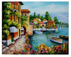 3d Photo, Acrylic Wall Art, Painting On Wood, Beautiful Landscapes, Landscape Paintings, Cottage, Watercolor, Drawings, Artist