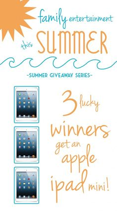 3 lucky winners will get a new iPad Mini! Enter our Summer Giveaway Series at Love Grows Wild! #giveaway