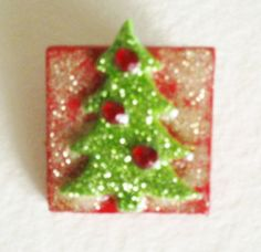 Christmas Tree Collage Pin. Light Green by kathleendaughan on Etsy, $5.95