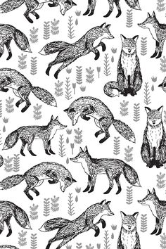Foxes Fabric // Black and White Nursery by andrea_lauren - Hand illustrated black foxes on a white background on fabric, wallpaper, and gift wrap.  Playful fox pattern and plants by indie designer Andrea Lauren.