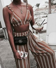 Brown and white horizontal striped top and matching wide leg bell bottoms. Talkin Beachwear!