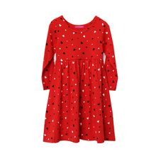 Christmas Costumes For Girls Winter Dress Kids 100% Cotton Long-sleeve Red Heart-shape Dresses Children Clothing(China (Mainland))