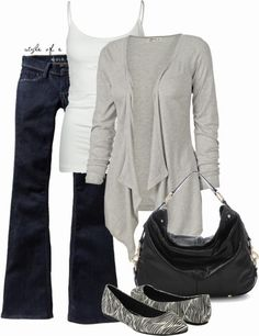 Daily Outfits | For a Cool Day  Trinity cardigan, Old Navy jeans, TRESICS cami, Zebra Flat shoes, Black Nikki bag  by styleofe
