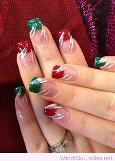 Red and green tips for Christmas