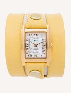 La Mer watch, Gold Square Case. Buttercup Yellow leather with gold rivets. Made in USA