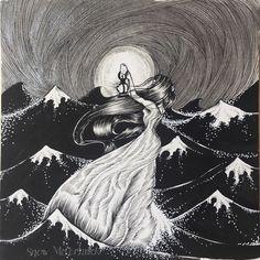 The Hermit ~ Original Pen & Ink Drawing / Swimming In Moonlight