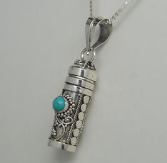 TURQUOISE CREMATION JEWELRY TURQUOISE URN NECKLACE STERLING SILVER URN MEMORIAL
