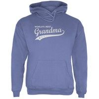 Wish | Mother's Day - World's Best Grandma Adult Blue Hoodie - Small (Size: S, Color: Blue)
