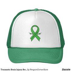 26158cb85b6 Traumatic Brain Injury Awareness Ribbon with Wings Trucker Hat Jamaica  Colors, Brain Injury Awareness,