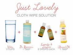 Just Lovely: Cloth Wipe Solution. She said 36 cloth wipes has worked well for her and she does laundry every second day.