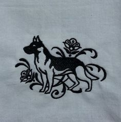 Beautiful embroidered German Shepherd in black on this white 100% cotton dish towel. This is a great gift for the pet lover in your life. This would make a perfect hostess gift for your best friend! The towel measures approximate 17.5 x 31 inches. This towel is great for the baker who loves to make hot fresh bread or rolls to cover the dough as it is rising!  Machine wash cold and tumble dry.  If you have any questions, Please ask.  Thanks for shopping in my shop
