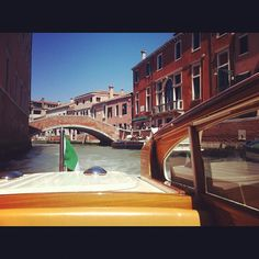On a water taxi in Venice, Italy