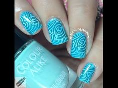 Waves Gradient Nail Stamping - http://www.nailtech6.com/waves-gradient-nail-stamping/