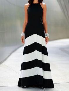 ärmelloses langes Kleid mit Streifen-schwarz und weiß 15.63