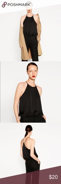 [zara] black satin bodysuit Super understated yet sexy black satin bodysuit with cool back. Worn once, looks amazing with skinny jeans. Size small. Zara Tops