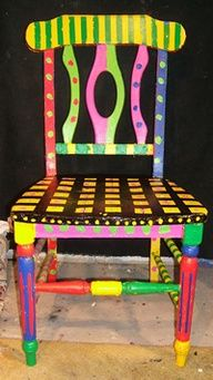 Funky multi color hand painted chair