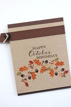 Happy October Birthday Card by Heather Nichols for Papertrey Ink (September 2014)