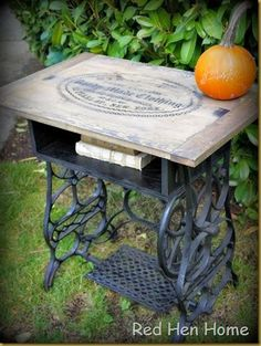 I so need to do this to the old Singer sewing machine I inherited!  Red Hen Home Treadle Table 5