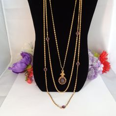 5312016 10% off Signed Vintage Goldette Victorian Triple Strand Necklace with An Intaglio Purple Cameo in Goldtone. This is a stunning set and priced at $42.99 before your 10% discount. Have a great vintage day and come and see all of our new listings in our store. www.CCCsVintageJewelry.com Havve a great vintage day! Best, Coco