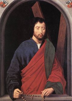 St. Andrew (left wing of a diptych, reverse) by @artistmemling #northernrenaissance