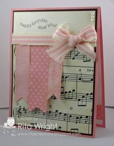 the ribbon strips. Shabby Music by - Cards and Paper Crafts at Splitcoaststampers Handmade Birthday Cards, Happy Birthday Cards, Greeting Cards Handmade, Birthday Music, Musical Cards, Card Making Inspiration, Card Tags, Paper Cards, Cool Cards