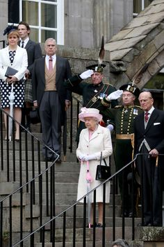 Queen Elizabeth II and Prince Philip, Duke of Edinburgh accompanied by Prince Andrew, Duke of York and First Minister Nicola Sturgeon attend the annual garden party at the Palace of Holyroodhouse on July 4, 2017 in Edinburgh, Scotland.