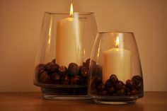 Great way to display all the conkers the kids bring home. I've already filled out vases, just need the candles.